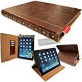 Genuine GUPi® Classic BROWN PU Leather Vintage Book Tablet Folio Case, Cover, Media Stand For Apple iPad Air 2