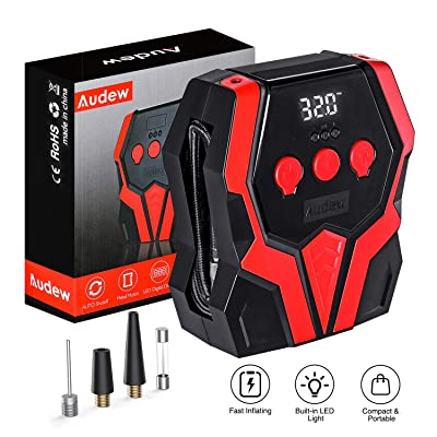 Audew Air Compressor Tire Inflator - 12V DC Portable Wheel Air Pump for Car Tires - Digital Tire Air Pump with LED Lights Auto Shut Off, for Car, SUV, Pickup, Motorcycle, Sports Balls: Automotive