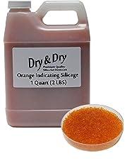 Dry & Dry 1 Quart Orange Premium Desiccant Indicating Silica Gel Beads(Industry Standard 2-4 mm) - 2 LBS Reusable