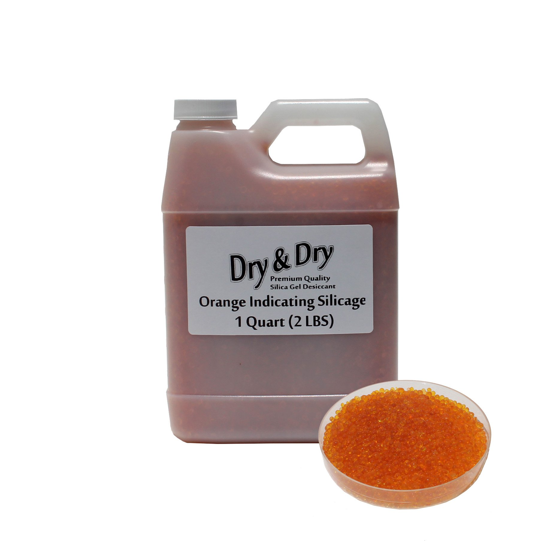 ''Dry & Dry'' [1 Quart] Premium Orange Indicating Silica Gel Desiccant Beads(Industry Standard 2-4 mm) - Rechargeable(2 LBS)