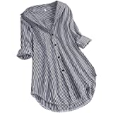 Women Long Sleeves Shirt ❀ Ladies Chic Stripe Turn-down Collar Button Loose Top Shirts Blouse Solid Casual Long Tunic…