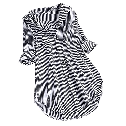 ca103098 Women's Tops Long Sleeve, Loose Chic Stripe Turn-Down Collar Button ...