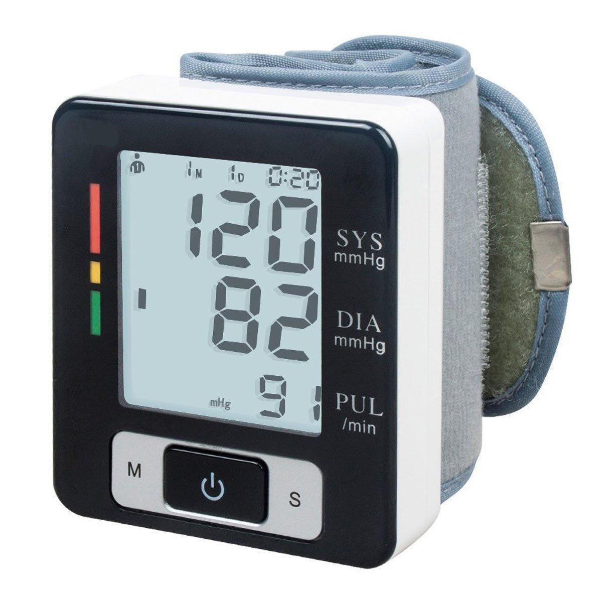 ELEGIANT Monitor de Presión, Tensiómetro de Muñeca Eléctrico Digital Portátil Arterial LCD Inteligente con Gran Pantalla con Función de Memoria para Regalo, ...