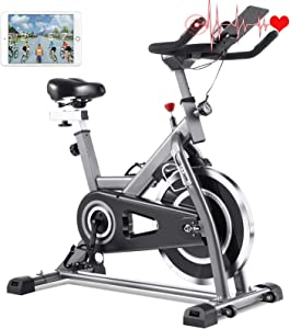 FUNMILY Indoor Cycling Bike - Stationary Exercise Bikes with LCD Monitor, Adjustable Resistance, Pad/Phone Holder, Heart Rate, Quiet for Home/Office Workout