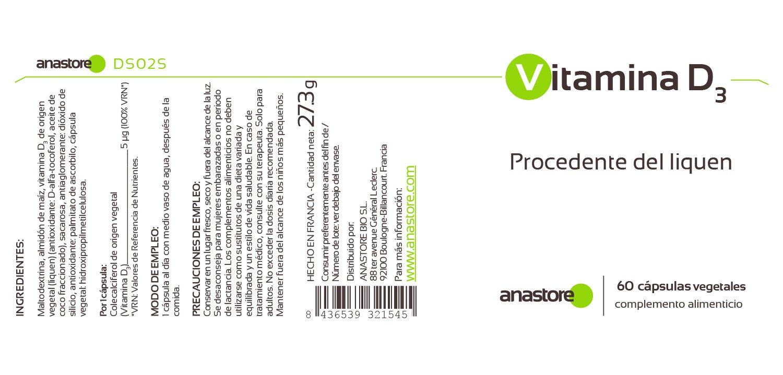 VITAMINA D3 * 100% de origen VEGETAL * 5 μg (200 UI) / 60 cápsulas * Refuerza el sistema inmunitario y mejora la salud musculoesquelética* Fabricado en ...