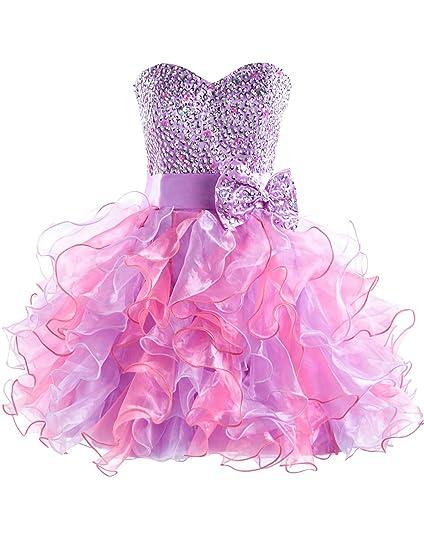 dbab760280c3f1 Sarahbridal Damen Tüll Bandeau Abendkleider Ballkleid Kurz Cocktailkleid  Abschlusskleider SSD131 lila EU46: Amazon.de: Bekleidung