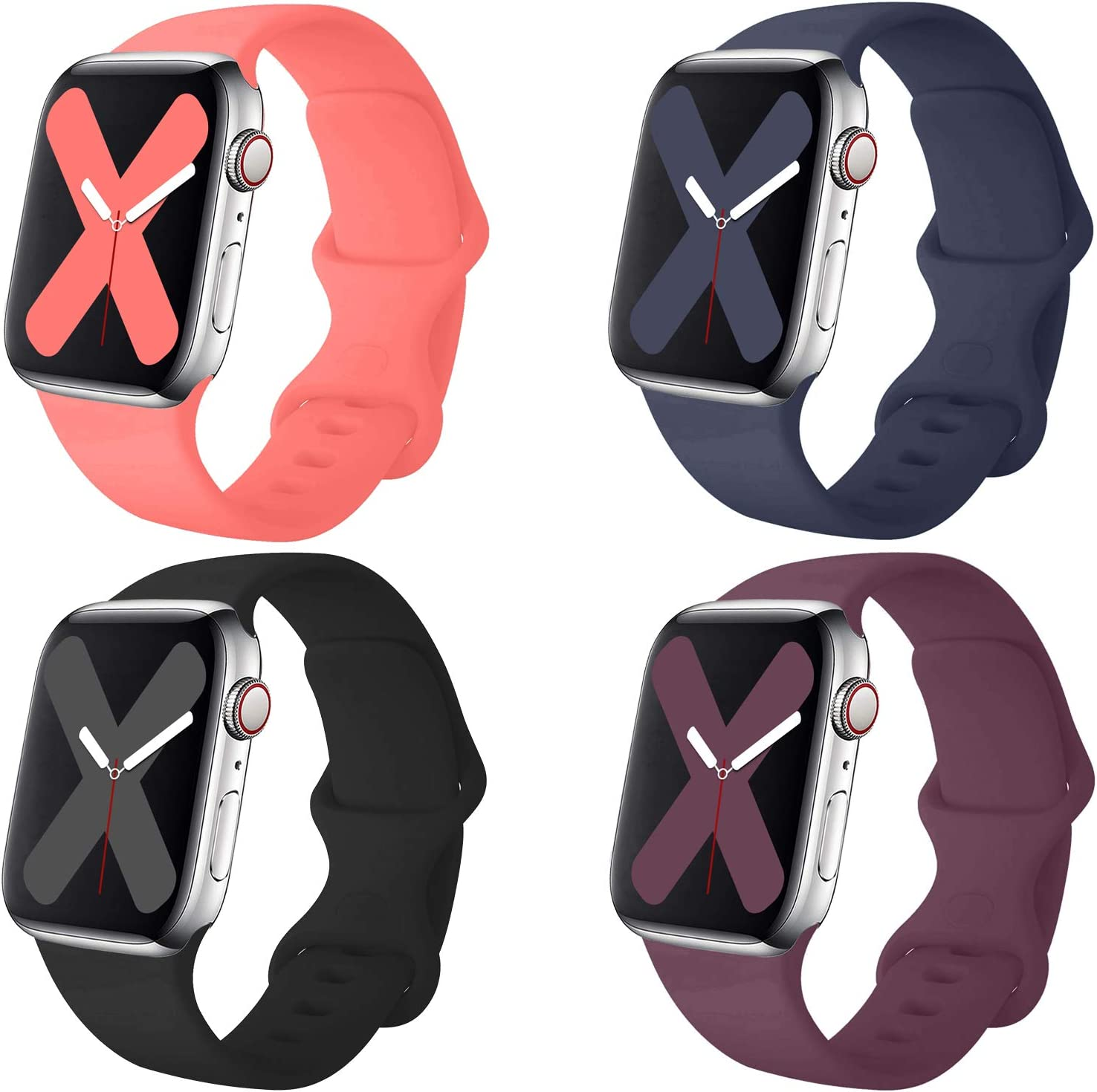 Misker 4 Pack Sport Band Compatible with for Applle Watch Band 38mm 40mm 42mm 44mm, Soft Silicone Sport Strap Compatible with iWatch Series 5 4 3 2 22
