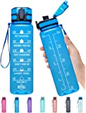 Elvira 32oz Motivational Fitness Sports Water Bottle with Time Marker & Removable Strainer,Fast Flow,Flip Top Leakproof Durable BPA Free Non-Toxic