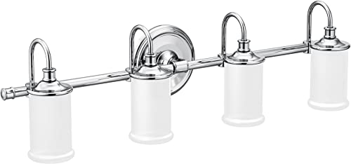 Moen YB6464CH Belfield 4-Light Dual-Mount Bath Bathroom Vanity Fixture with Frosted Glass, Chrome