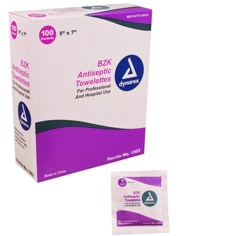 Dynarex BZK Antiseptic Towelettes 5'' x 7'' 10/100/Cs