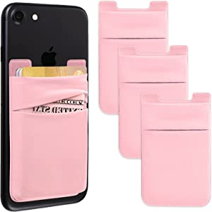 Phone Card Holder Stretchy Lycra Wallet Pocket Credit Card ID Case Pouch Sleeve 3M Adhesive Sticker Compatible with iPhone Samsung Galaxy Android Smartphones - Pink