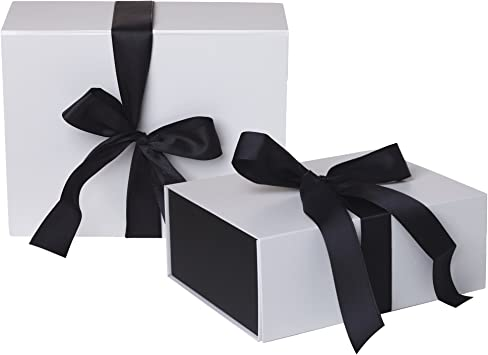 Jillson Roberts 24-Count Wine /& Bottle Gift Boxes Available in 3 Colors Black Matte with White Ribbon