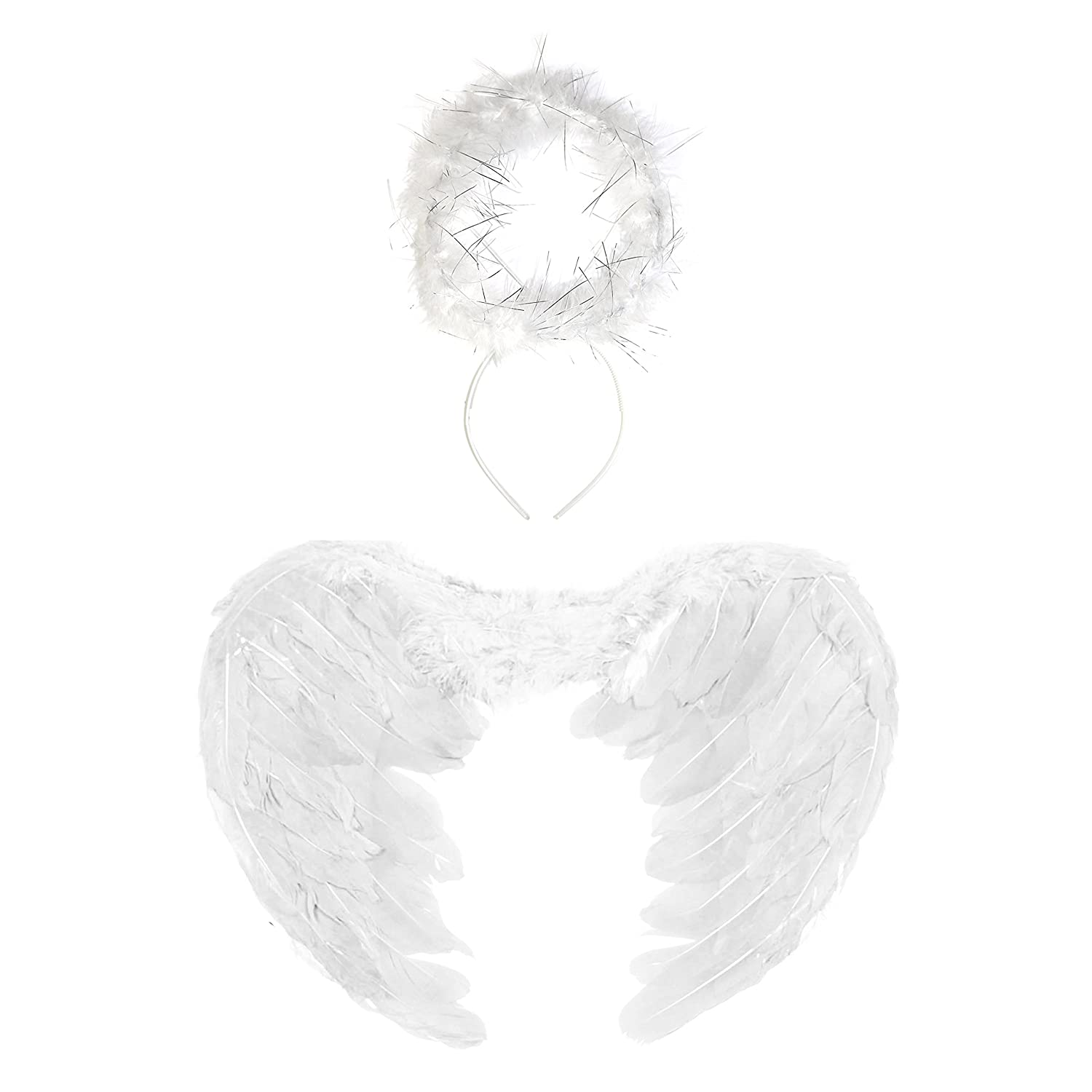 43cm White Angel Feather Wings /& Halo Set