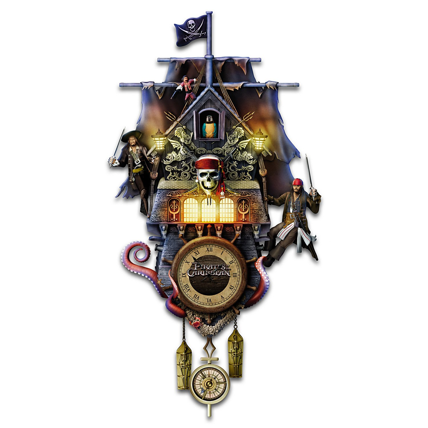 Collectible Disney Pirates of the Caribbean Illuminated Black Pearl Cuckoo Clock by The Bradford Exchange 01-25863-001