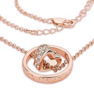 f45a7cdf4854f Taffstyle® Damen Halskette mit Ring Herz Strass Kristall Anhänger Roségold  plattiert Rose Gold Kette Herzanhänger - Valentinstag Geschenk für Frauen   ...