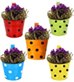 Bison International Polka Dotted Round Railing Planters Balcony Garden; Multicolour - Pack of 5