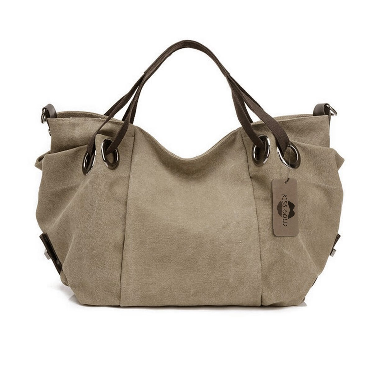 KISS GOLD(TM) Women's Canvas Hobo Top-handle Bag Crossbody Shoulder Bag, European Style, Large Size 16''X6.8''X12'', Light Khaki