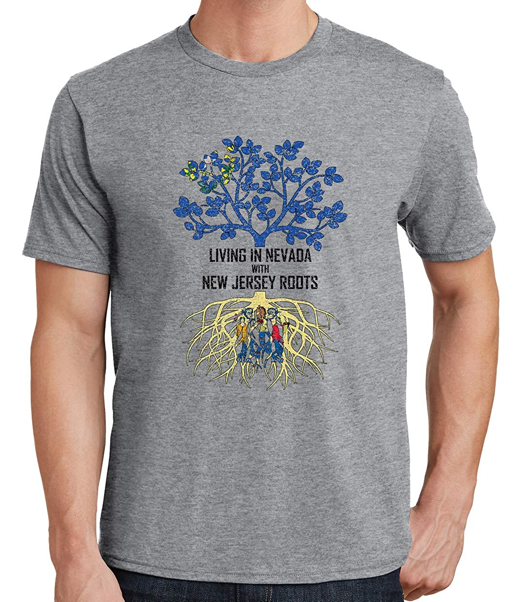 Tenacitee Mens Living in Nevada Jersey Roots T-Shirt