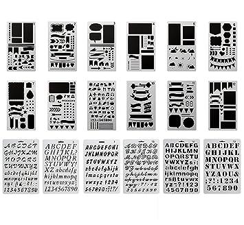 Amazoncom MAGICMAI Bullet Journal Stencil Plastic Planner Stencils - Letter stencil templates