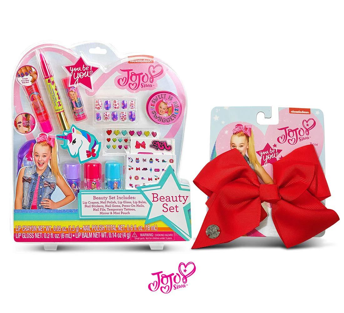 Warp Gadgets Bundle - JoJoSiwa Beauty Cosmetic Set and Red Basic Bow on Metal Salon Clip (2 Items)