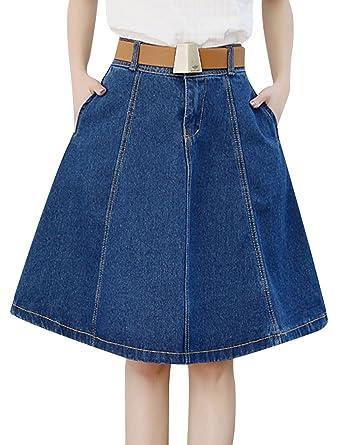 9bdf6adb1 Tanming Women's Knee Length A-Line Midi Denim Jean Skirt at Amazon ...