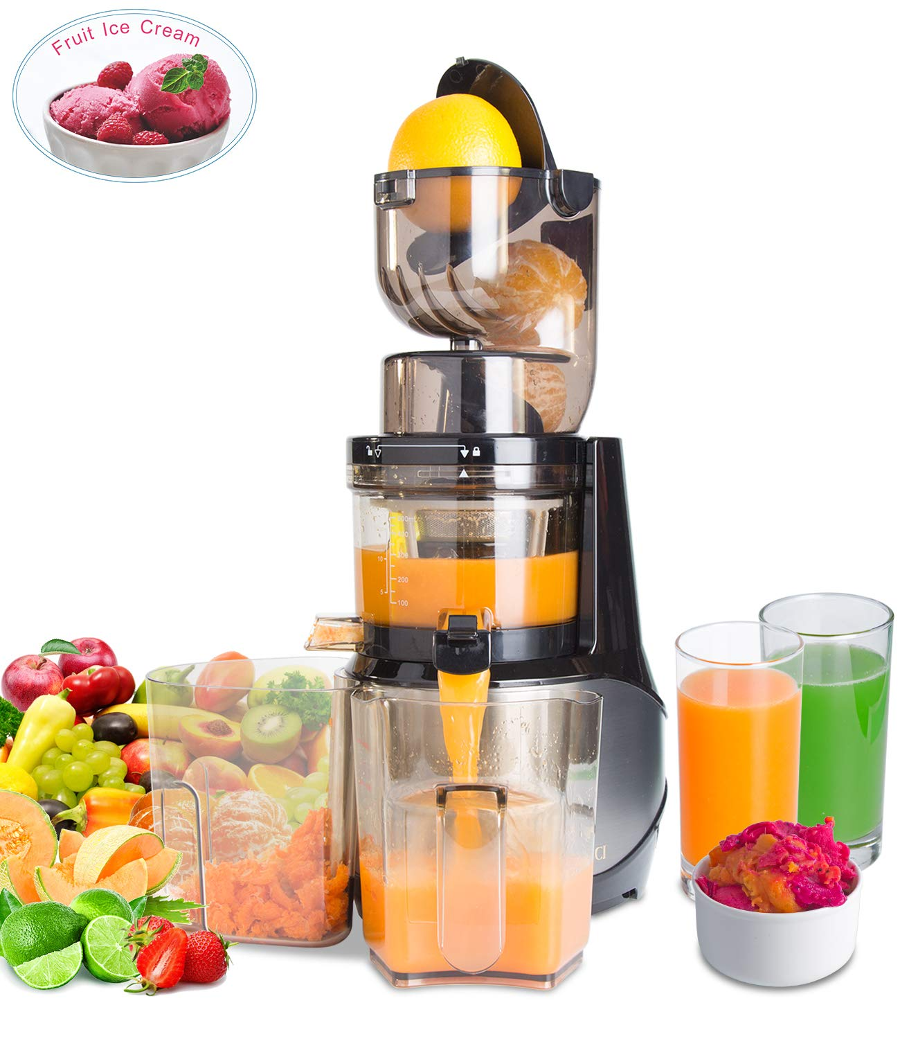"Masticating Juicer,Whole Slow Juicer Extractor by Vitalisci,Cold Press Juicer Machine,Anti-Oxidation for Fruit and Vegetable,Easy to Clean and BPA Free,(300W AC Motor/3.15"" Wide Chute/40 RPMs)-Silver"