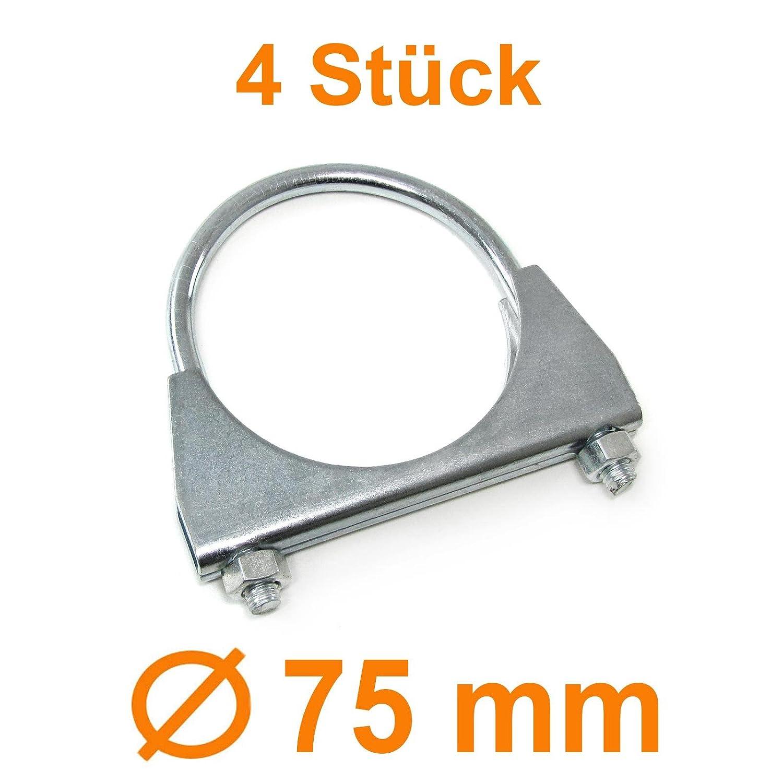Tenzo-R 29936/_4 Auspuff U B/ügelschelle Rohrschelle universal 3 75mm M8 Set 4 St/ück