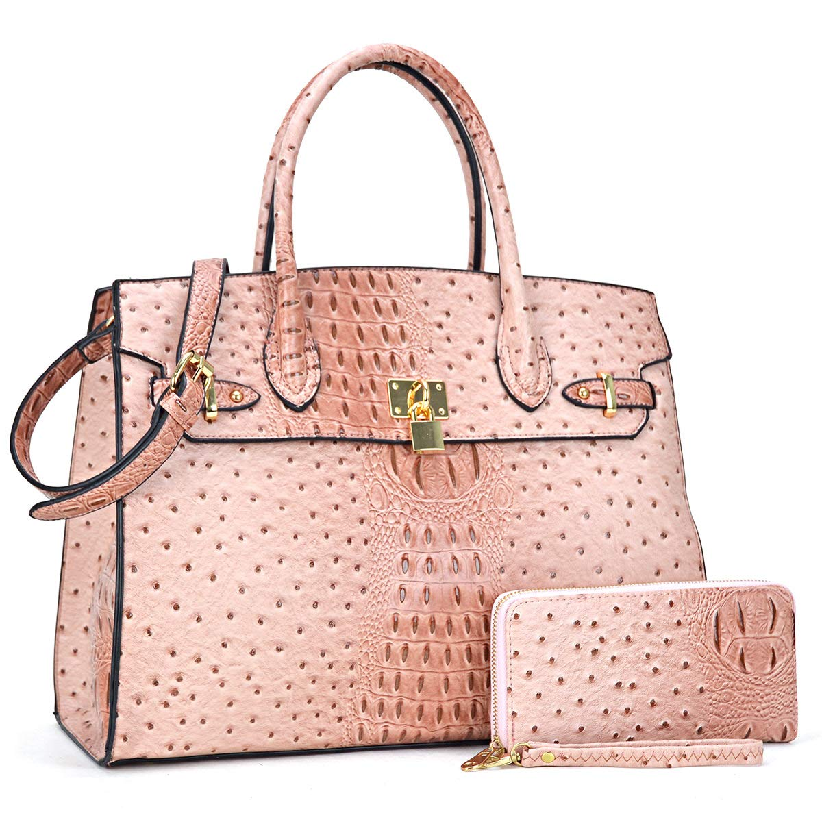 Women Top Handle Satchel Purse Large Handbag 2 Piece Wallet Set with Shoulder Strap Pink
