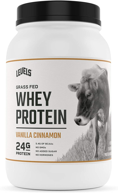 Levels Grass Fed 100% Whey Protein, No GMOs, Vanilla Cinnamon, 2LB