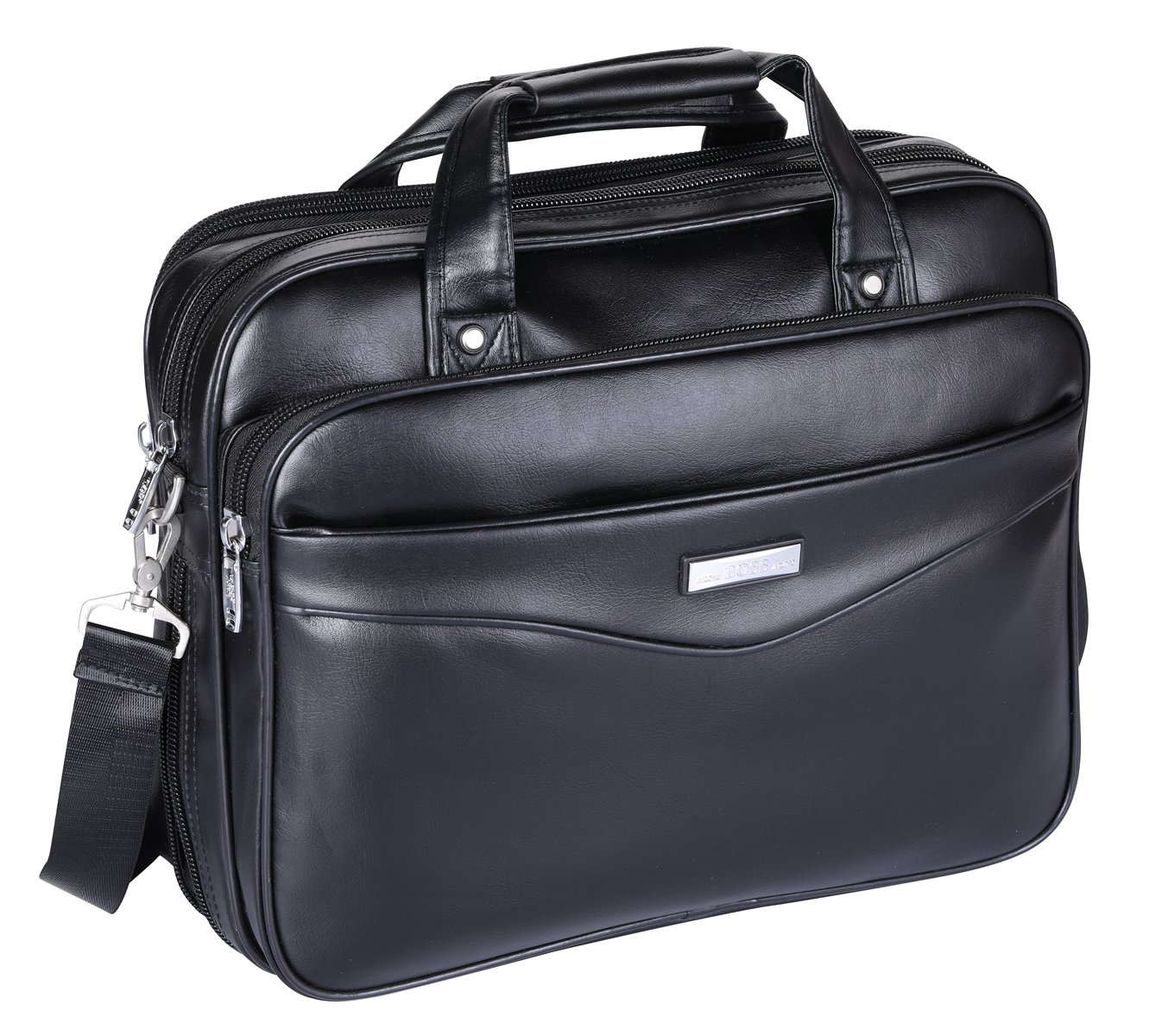 Leather 16 inch Laptop Briefcase,ARON Boss Series Water Resistant Large Shoulder Bag Functional Business Handle Bag for 15.6 inch laptop (AC2-Black)