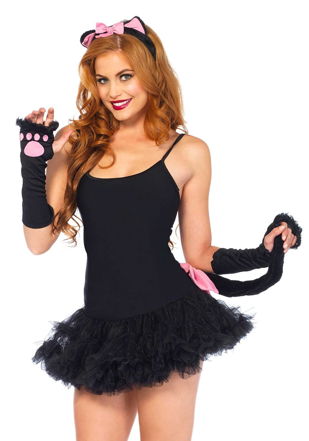 Leg Avenue 3 Piece Pretty Kitty Accessory Kit Includes Gloves With Headband And Tail Black One Size Leg Avenue Costumes 205622001
