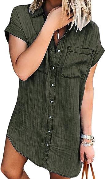 Women Denim Shirt Dresses Short Sleeve Distressed Jean Dress Button Down Casual Tunic Top