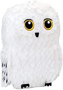 Riles & Bash Owl Pinata — for Wizard Theme Woodland Forest Animal Parties — Birthday Party Supplies Pinatas and Decorations — Cute White Snowy Owl Pinata for Girls & Boys