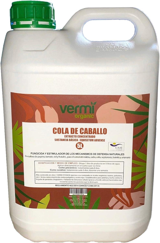 VERMIORGANIC Fungicida Bioestimulante Cola de Caballo Ecológico, 5L. Preventivo y curativo de Las Enfermedades fúngicas.