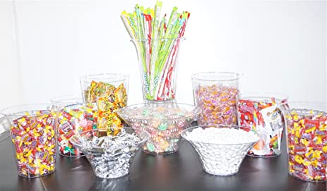 amazon com 11 pc candy buffet set plastic candy jars candy rh amazon com Candy Buffet Container Ideas plastic jar for candy buffet