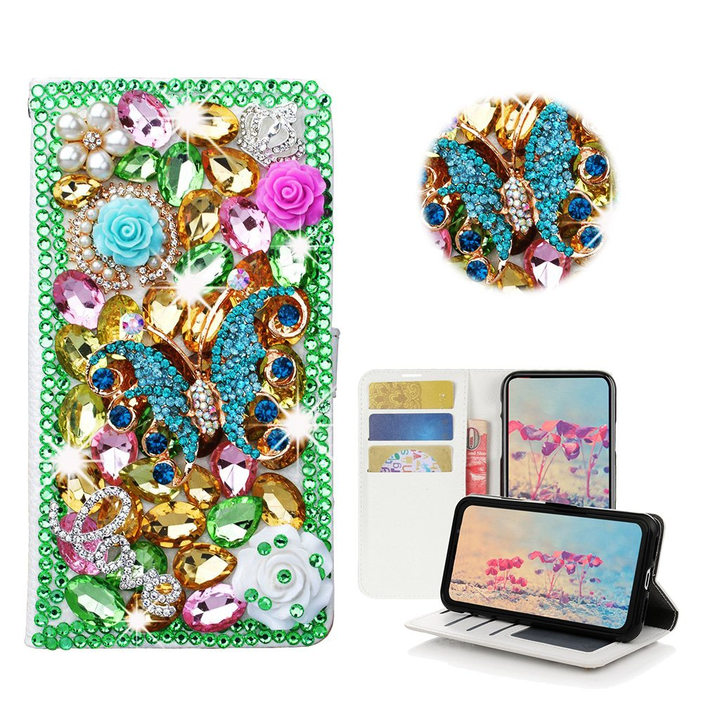 STENES iPhone 8 Case - Stylish - 3D Handmade Bling Crystal Butterfly Rose Flowers Desgin Wallet Credit Card Slots Fold Media Stand Leather Case for iPhone 7 / iPhone 8 - Green