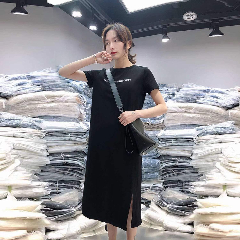 Workings Fashion Letter Print T Shirt Dress Summer Short Sleeve Long Tshirt Korean Harajuku Dresses Casual Long Dress