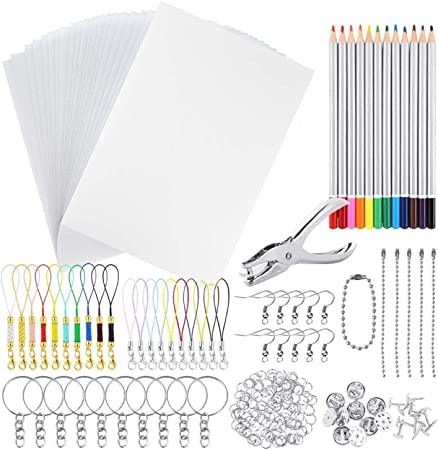 MAMUNU 155 Pieces Heat Shrink Plastic Sheet Kit Include 20 Sheets Shrinky Art Paper with 10PCS Ear Hooks and 125 PCS Keychains Accessories for DIY Ornaments or Creative Craft