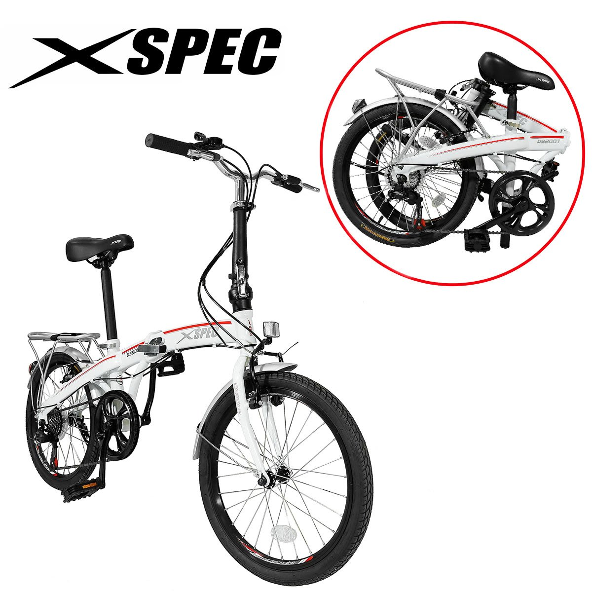 Xspec 20'' 7 Speed City Folding Mini Compact Bike Bicycle Urban Commuter Shimano White