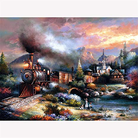 DIY 5D full drill Townlet landscape diamond Painting Embroidered/_CV