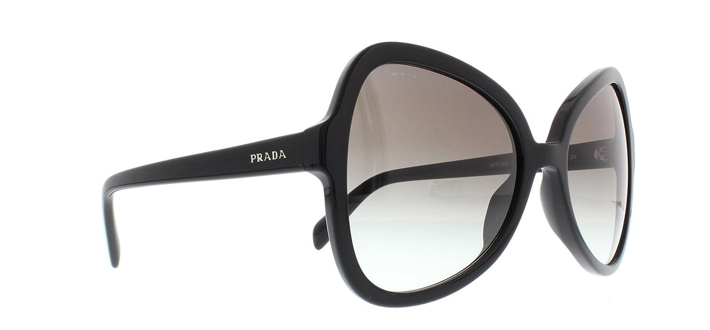 Amazon.com: Prada Sunglasses SPR 05S 1AB0A7 Black Size 56: Clothing