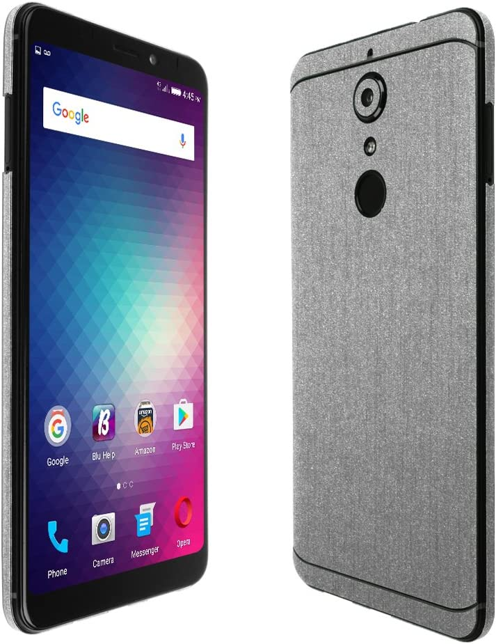 Full Coverage Skinomi Brushed Aluminum Full Body Skin Compatible with BLU Studio XL 2 TechSkin with Anti-Bubble Clear Film Screen Protector