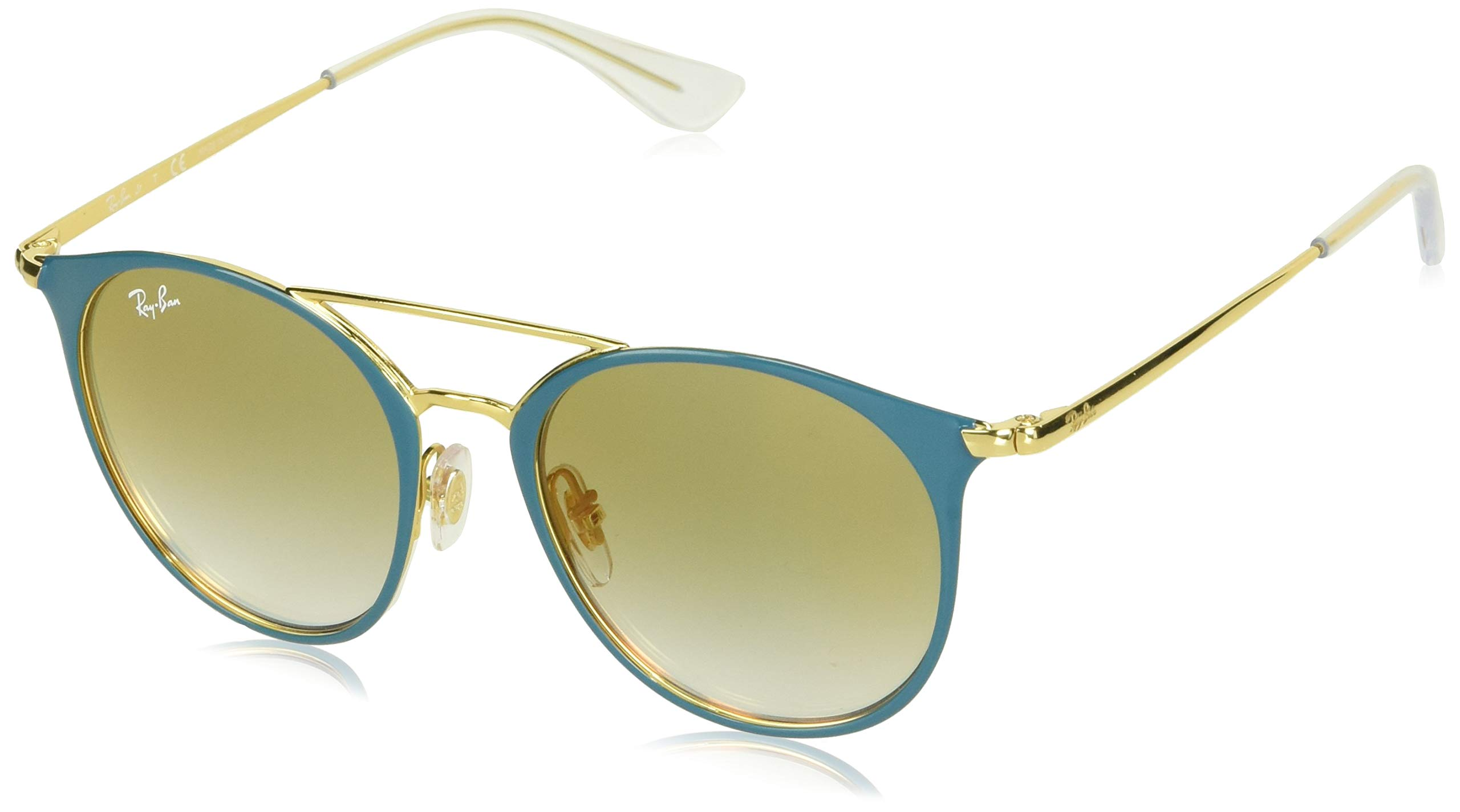 RAY-BAN JUNIOR Kids' RJ9545S Round Kids Sunglasses, Gold On Top Turquoise/Green Red Gradient Mirror, 47 mm by RAY-BAN JUNIOR