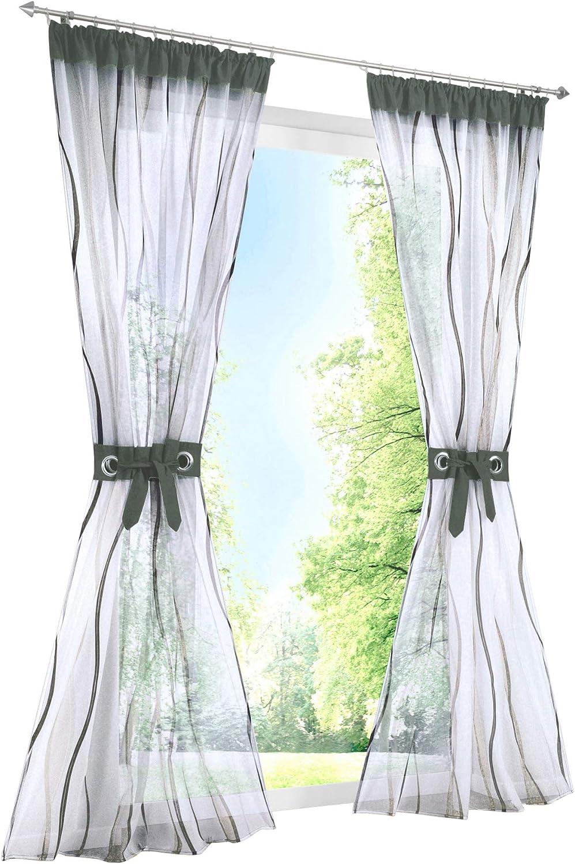 Bleu BAILEY JO 1Pi/èce Rideau Voilage Impression Rideaux /à Galon Fronceur D/écoration de Fen/être Chambre//Salle de Bain//Balcon LxH//140x145cm