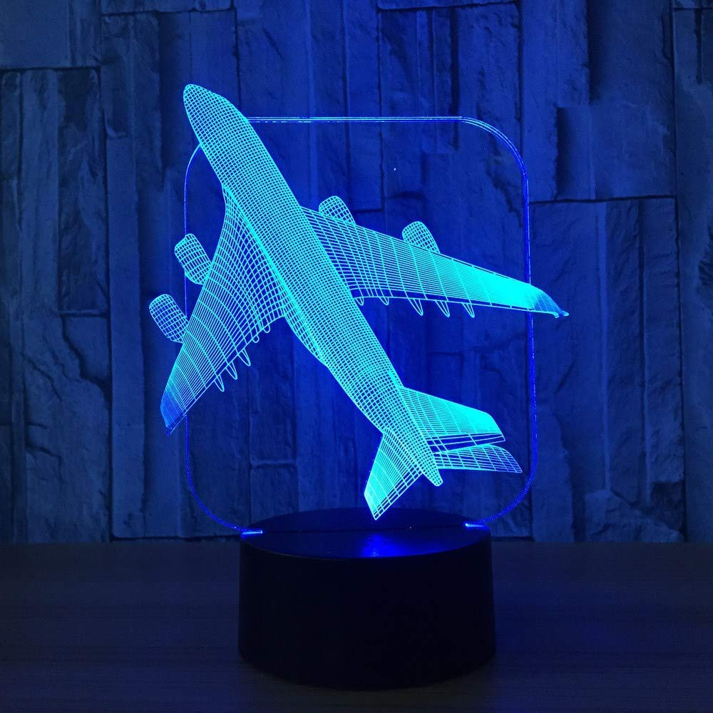 OVIIVO Creative Table Lamp Desk Lamp 3D Aircraft Warplane Model Creative Night Light Touch Jet Plane Desk Lamp Led Illusion Lamp Bedside Lamp Cool Toy Using for Reading, Working