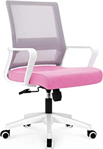 NEO CHAIR Office Chair Ergonomic Desk Chair Mesh Computer Chair Lumbar Support Modern Executive Adjustable Rolling Swivel Chair Comfortable Mid Black Task Home Office Chair, Pink