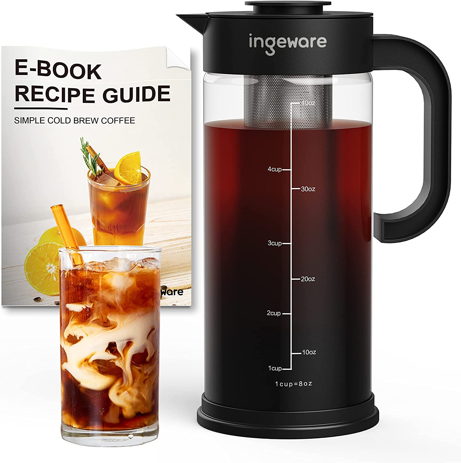 Ingeware Airtight Cold Brew Coffee Maker -1.5L/50oz Cold Brew Maker, Iced Tea Maker with Removable Stainless Steel Filter, Easy Pour Spout - Large Thick Cold Brew Pitcher