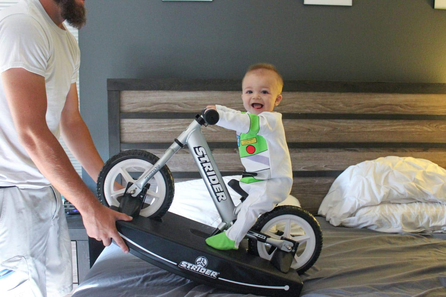 Strider - 12 Pro Baby Bundle with Balance Bike and Rocking Base, Ages 6 Months to 5 Years, Silver by Strider (Image #8)
