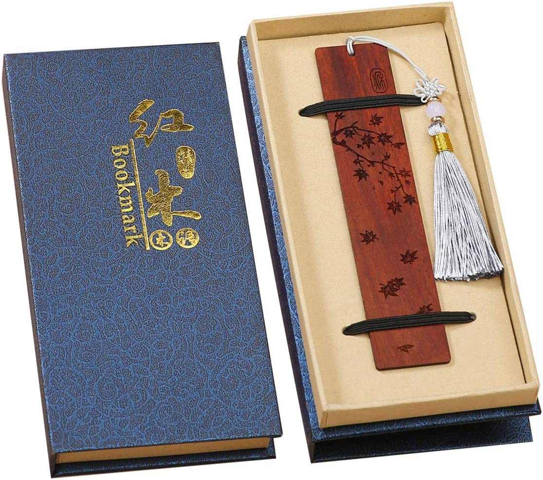 marque-pages en bois avec de beaux gland, est un cadeau unique pour les enseignants les /étudiants Toirxarn Marque-page en bois naturel magnifiquement sculpt/é les hommes et les femmes.