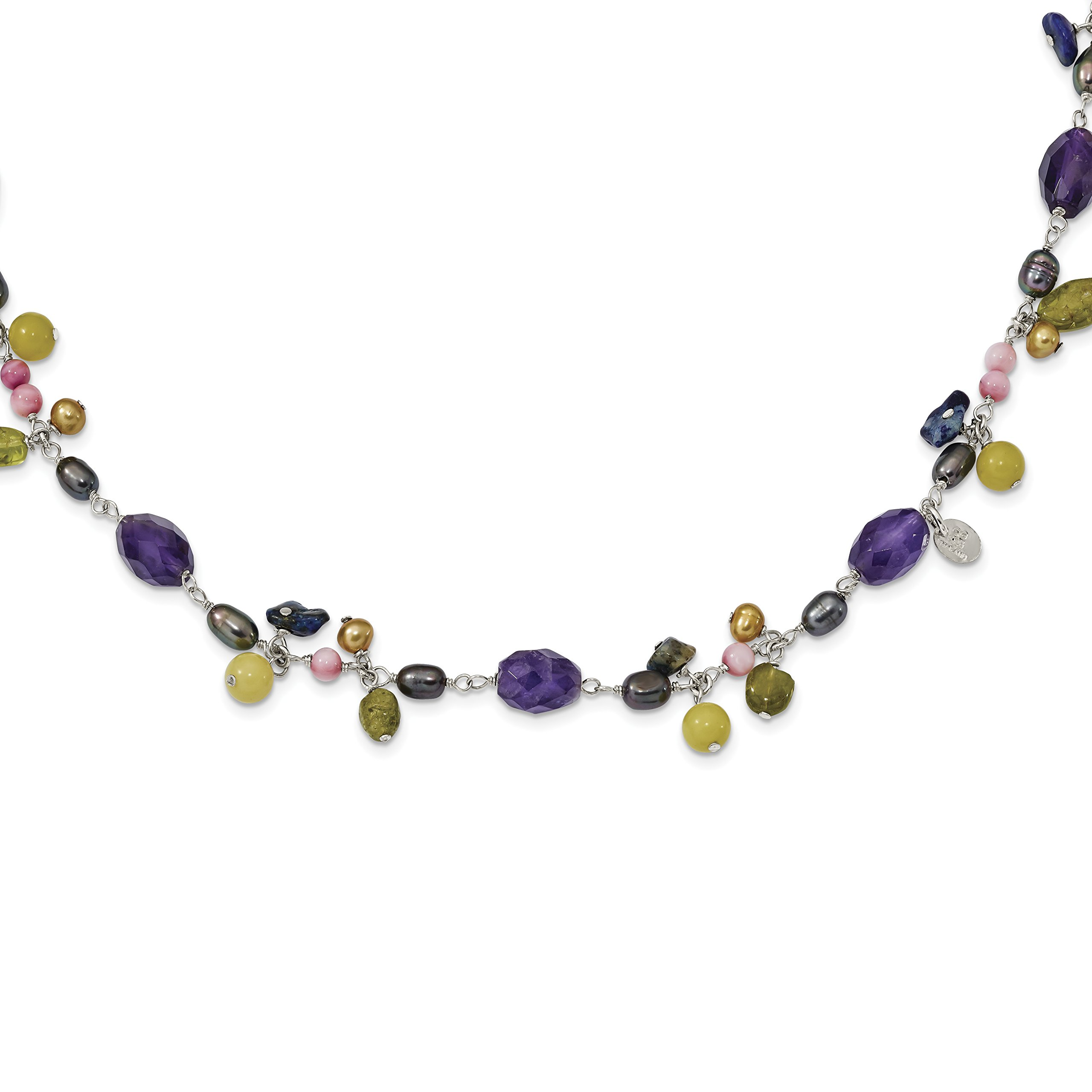 ICE CARATS 925 Sterling Silver Freshwater Culturedultpearlprple Gold/amy/yw Avent/jade/lapis/peridot Chain Necklace Pearl Natural Stone Fine Jewelry Gift Set For Women Heart